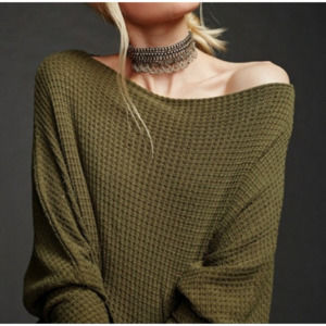 Free People Thermal Waffle Knit Top Dolman Sleeve